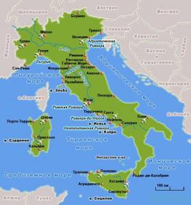 Италия, карта Италия