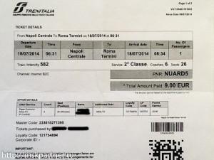 Билет, Trenitalia, поезд